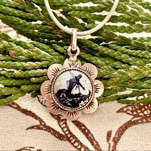 Sterling Delft Pendant Necklace